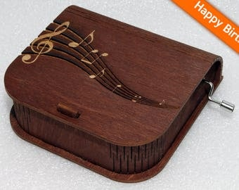 "Engraved Wooden Music Box  ""Happy Birthday"" #4 - Hand Crank Movement"