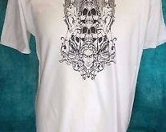 Men's  White T Shirt Occult Skull design