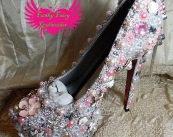 High heel platform shoes, women's shoes, rhinestone shoe, encrusted shoes, embellished shoes, customised shoes, wedding shoes, stilettos