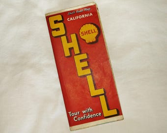 Vintage 1930s SHELL California ROAD MAP