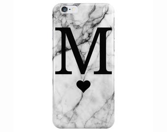 Personalised Large Single initial Heart White Marble Phone Case Cover for Apple iPhone 5 6 6s 7 8 Plus & Samsung Galaxy Customized Monogram