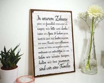 Wooden sign with spell - family rules House rules