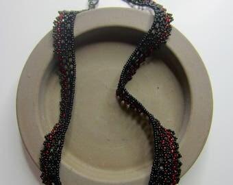 Tango jewelry, Tango necklace, beaded choker, choker necklace, beadwoven choker, black necklace