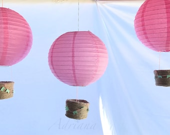 Pink Paper Lantern (10 inch) Hot Air Ballons 3 per package