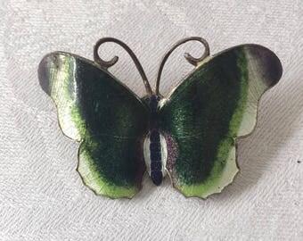 Stunning Vintage Enamel Butterfly Brooch