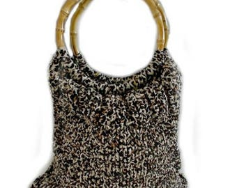 Bridgit-Hand Knitted Bag with Bamboo Handle, Hand Knitted T Shirt Yarn Bag, Hand Knitted Shopping Bag