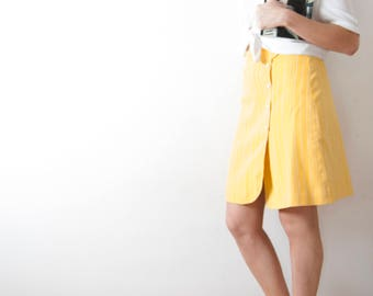 Vintage Yellow Short Skirt