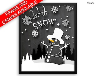 Snowman Canvas Art Snowman Printed Snowman Winter Art Snowman Winter Print Snowman Framed Art Snowman chalkboard snowman