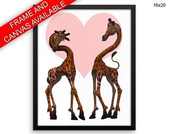 Love Prints  Giraffe Canvas Wall Art Love Framed Print Giraffe Wall Art Canvas Love Nursery Art Giraffe Nursery Print Love Heart Giraffe