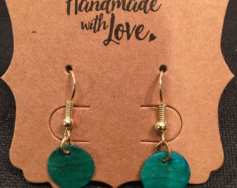 Jade green shell dangle earrings