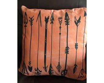 Orange Arrow Throw Pillow