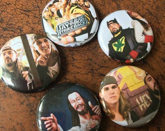 "JAY and SILENT BOB 1"" Button Set - Clerks, Dogma, Mallrats"