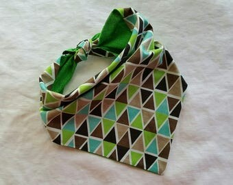 Traditional Tie End Dog Bandana - Reversible Brown/Lime/Teal Triangles and Green Check
