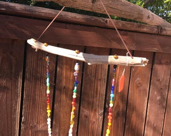 Beaded windchime with Alaskan driftwood