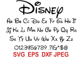 Walt Disney Font svg files download; Svg, Dxf, Eps, Jpeg.