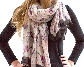 Personalised Faded Bird Print Scarf in Grey