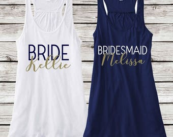 Personalized Bridesmaid Tanks for Bridal Party, Bachelorette Party Personalized Tanks