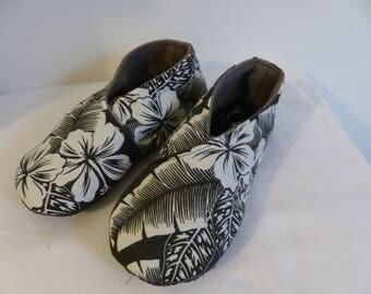 chausson tissu fleur