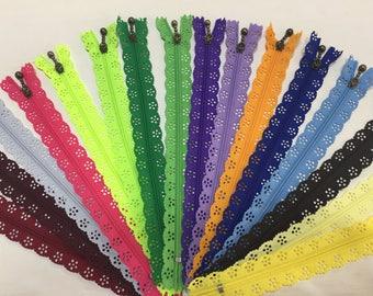 Lace Zipper 20 cm Various Colours
