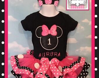 Embroidered Minnie Mouse tutu set, Minnie Mouse cake smash tutu, Minnie Mouse one birthday, one Minnie Mouse Tutu