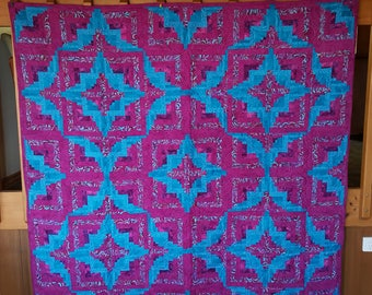 Vibrant Plum and Aqua Hand Pieced Square Wall or Floor Quilt.