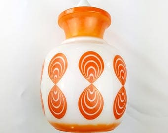 Chandelier glass silkscreen Globe Orange Op Art Vintage