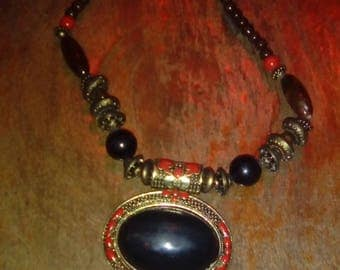 Maasai Beaded Necklace with Pendant