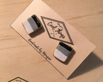 Square Black, Gray and White Stud Earrings