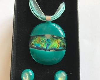 Turquoise fused glass pendant and earrings
