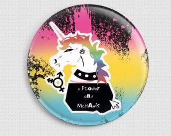 """Badge """"A flower on a mohawk"""""""