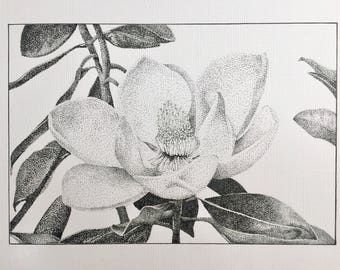 A4 Magnolia flower dotwork drawing (original)