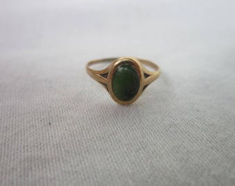 Antique Victorian 10 K Gold & Solitaire Jade Stone Child's Baby Ring