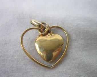 Vintage Gold Tone Double Heart Necklace Pendant