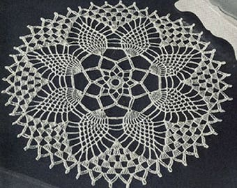 Pineapple Petals Doily Pattern #12-50, Crochet Pineapple Crochet Pattern, Vintage Pattern