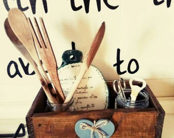 Wooden box with tool holder shabby chic style jars