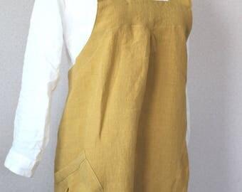 Linen bag cloth apron saffron yellow linen 100% [MY BEST APRON]