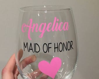 Maid of honor gift. Maid of honor wine glass. Maid of honor. Moh. Moh gift. Moh wine glass.
