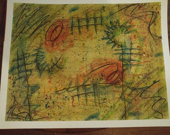 """ORIGINAL ABSTRACT PASTEL artwork """"The lost lines of art"""""""