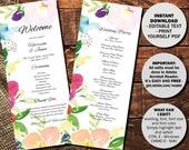 Wedding Day Program Template Printable Wedding Program Wedding Order of Service Text Editable PDF Watercolor Floral Border 1 PROG1