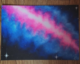 Original Acrylic Galaxy Painting on Canvas Board
