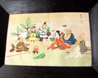 Vintage Japanese Hand Painted On Silk Framed 7 Gods Of Good Fortune 5in x 7in
