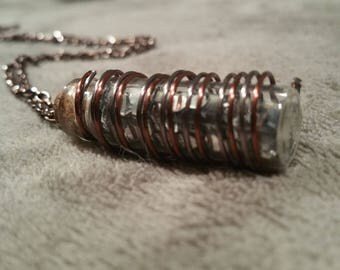 Copper and Gray Wire Twist Vial Necklace