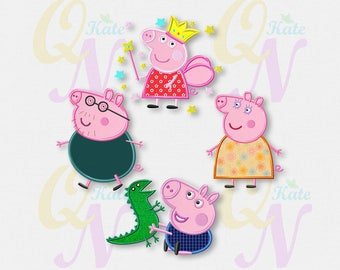SET Peppa Pig Family applique embroidery designs, Peppa Pig Machine Embroidery Designs, Embroidery designs baby, Instant Download, #039