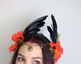Dark Poppy festival winged headdress