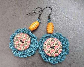Earrings, crochet
