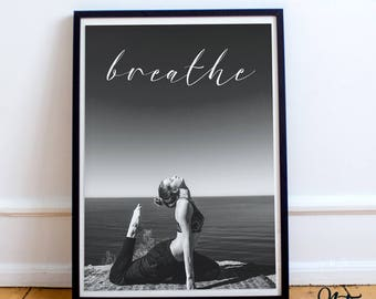 Breathe 8x10 Digital Print, Yoga, Fitness, Mindfulness, Wall Art, Quote, Inspirational, Motivational, Typography, Instant Download, FitQ001