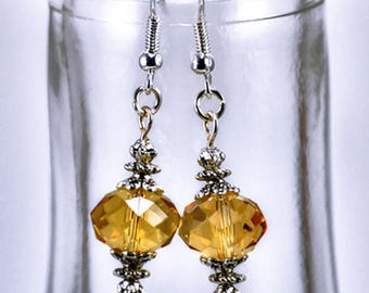 Champagne Colored Faceted Crystal Silver Earring