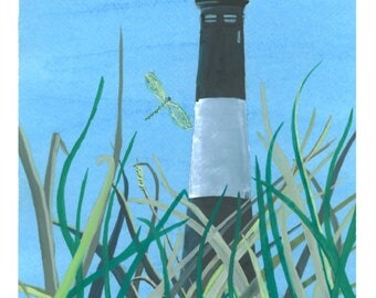 Fire Island Lighthouse signed gouache print