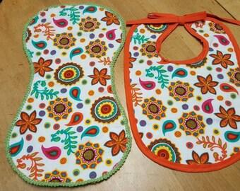 Crocheted burp cloth and bib