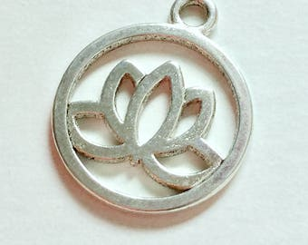 Antiqued Silver Lotus Charms 20mm